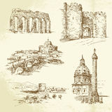 Rome - hand drawn set Royalty Free Stock Photography