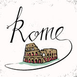 Rome hand lettering and Colosseum hand drawn. Vector illustration. Lettering and typographic design. Vector design elements. Stock Images