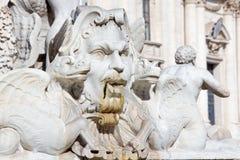 Rome - het detail van Fontana del Moro op PIazza het vierkant van Navona door Giacomo della Porta 1575 stock foto's
