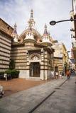 Rome in het stadscentrum bouwde Gotische stijl in Parochiekerk op de kust van Costa Brava stock afbeelding