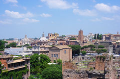 Rome historic center city and ancient ruins Stock Photography