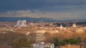 Rome historic center city skyline. View from the hill stock footage