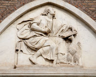 Rome - holy John the Evangelist relief from Santa Maria Aracoeli church facade Royalty Free Stock Photos