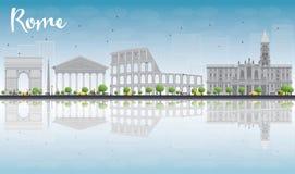 Rome horisont med gråa gränsmärken och blå himmel stock illustrationer