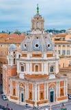 Rome horisont och kupoler av den Santa Maria di Loreto kyrkan Fotografering för Bildbyråer