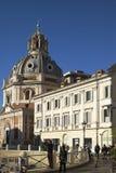 Rome horisont och kupoler av den Santa Maria di Loreto kyrkan Arkivfoton