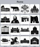 Rome icons. Landmarks of Rome. Set of monochrome icons. Editable vector illustration Royalty Free Stock Images