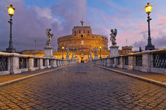 Rome. Image of the Castle of Holy Angel and Holy Angel Bridge over the Tiber River in Rome at sunrise royalty free stock photos