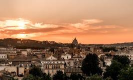Rome intense sunset. Cityscape panorama twilight Stock Image