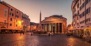 Rome, Italië: Het Pantheon in de zonsopgang Stock Fotografie