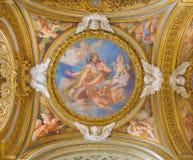 ROME, ITALIË - MAART 12, 2016: De Glorie van St Sebastian fresko op de zijkoepel in Chiesa-Di Santa Maria del Orto door Giovanni  Stock Foto's