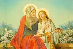 ROME, ITALIË - MAART 10, 2016: Het schilderen van st Ann met Maagdelijke Mary in Di Santa Maria Ausiliatrice van de kerkbasiliek  royalty-vrije stock foto