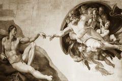 Rome Italië 08 Maart verwezenlijking van Adam door Michelangelo stock afbeelding