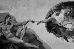 Rome Italië 08 Maart verwezenlijking van Adam door Michelangelo Royalty-vrije Stock Afbeeldingen