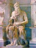 Rome, Italië - Mei 02, 2014: Het standbeeld van Mozes die door Michelangelo wordt gebeeldhouwd Stock Afbeelding