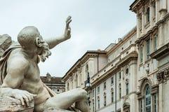ROME, 12,2012 ITALIË-OKTOBER: Fontain van de Vier Rivieren Royalty-vrije Stock Afbeeldingen
