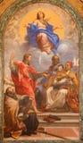 ROME, ITALIË: Onbevlekte Ontvangenis en de heiligen John Ev , John Bap , Augustine, Gregory, in Basiliekdi Santa Maria del Popolo stock afbeelding
