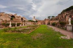 ROME, ITALIË - September 12, 2016: Veiw op Roman Forum in Rome tijdens bewolking stock foto's
