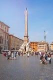 ROME, ITALIË, 11 SEPTEMBER 2016 De zomerdag op Piazza Navona in Rome Stock Foto
