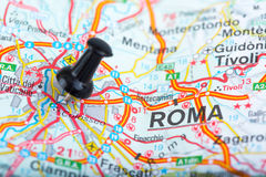 Rome on Italian map pinned Royalty Free Stock Photos