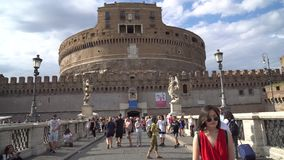Rome, Italie - 23 06 2018 : ` Angelo, Rome de Ponte Sant Castel Sant Angelo banque de vidéos