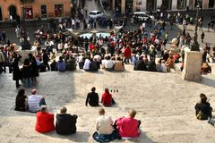 Rome, Italie, escaliers espagnols, barcaccia de della de Fontana, Image stock