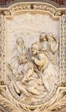 ROME, ITALIE - 10 MARS 2016 : Le soulagement de la scène de la vie de St Thaddeus que l'apôtre conçoit Photo stock