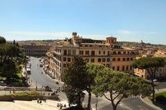 Rome Italien - APRI 11, 2016: Sikt från balkongen av natioen Arkivbilder