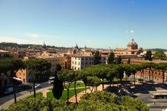Rome Italien - APRI 11, 2016: Sikt från balkongen av natioen Royaltyfria Bilder