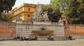 Rome Italien - APRIL 12, 2016: Fyrkant Piazza del Popolo för folk` s Royaltyfri Foto