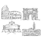 Rome Italien berömda byggnader royaltyfri illustrationer