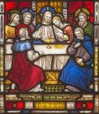 ROME ITALIEN: Den sista kvällsmålet på helgonens för fönsterruta allra anglikanska kyrka vid arbetsrummet Clayton och Hall Royaltyfria Bilder