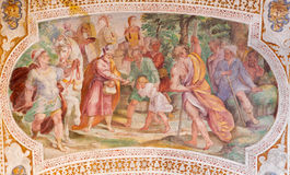 ROME ITALIEN: Esau Sells His Birthright Freskomålning från valvet av trappa i kyrkliga Chiesa di San Lorenzo Fotografering för Bildbyråer
