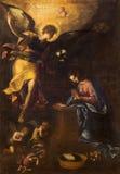ROME ITALIEN: Förklaringmålarfärg av Francesco Nappi (1604 - 1617) i kyrkliga Chiesa di Santa Maria i Aquiro Royaltyfri Foto