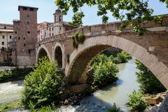 Rome Italien - Fabricius Bridge Arkivfoton