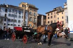 Rome Italien: februari 17 2017 - Piazzadella Rotonda - byggnader och dramatisk himmel, Rome, Italien Royaltyfri Fotografi
