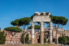 ROME Italien, 2019: Forntida Roman Forum, Foro Romano, tempel av Venus Genetrix med kopieringsutrymme och blå himmel ber?md landm royaltyfri fotografi