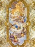 ROME ITALIEN: Freskomålning av apoteos av St Catherine i kyrkliga Chiesa di Santa Caterina da Siena en Magnapoli av Luigi Garzi 1 Arkivfoto