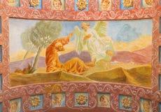 ROME ITALIEN: Freskomålning profeten Elijah Receiving Bread och vatten från en ängel i kyrkliga basilikadi Santa Maria Ausiliatri Royaltyfri Fotografi