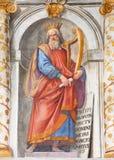ROME ITALIEN: Freskomålningen för konung David i kyrkliga Basilika di San Vitale av Tarquinio Ligustri 1603 Arkivbilder