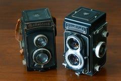 ROME ITALIEN - JULI 21 2016 Bioptical fotokamera R för två tappning royaltyfria bilder