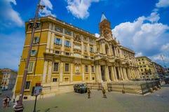 ROME ITALIEN - JUNI 13, 2015: Basilikadi Santa Maria Maggiore på Rome, en av härliga churchs som kan finna i Royaltyfria Foton