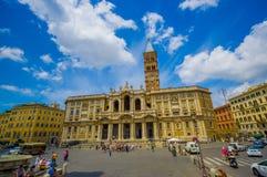 ROME ITALIEN - JUNI 13, 2015: Basilikadi Santa Maria Maggiore på Rome, en av härliga churchs som kan finna i Royaltyfri Foto