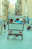ROME ITALIEN - JUNI 13, 2015: Folk som lite använder en moto med vagnen bakom som en taxi i Rome Royaltyfria Foton