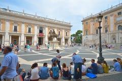 Rome ITALIEN - JUNI 01: Piazza di Campidoglio, Rome, Italien på Juni 01, 2016 Royaltyfria Foton
