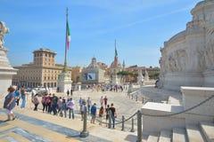 Rome ITALIEN - JUNI 01: Piazza Venezia och Victor Emmanuel II monument i Rome, Italien på Juni 01, 2016 Arkivbilder