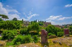 ROME ITALIEN - JUNI 13, 2015: Stor sikt från kullen till Roman Forum, forntida liten stad nära Roman Coliseum Arkivbilder