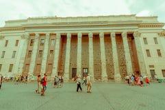 ROME ITALIEN - JUNI 13, 2015: Trevlig struktur i mitten av Rome och att bygga med olika kolonner och fönster Royaltyfri Bild
