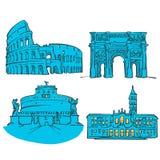 Rome Italien kulöra gränsmärken vektor illustrationer