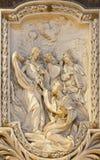 ROME ITALIEN, 2016: Lättnaden av misstrogenheten av St Thomas av Carlo Monaldi i kyrkliga Basilika di San Marco Royaltyfri Fotografi